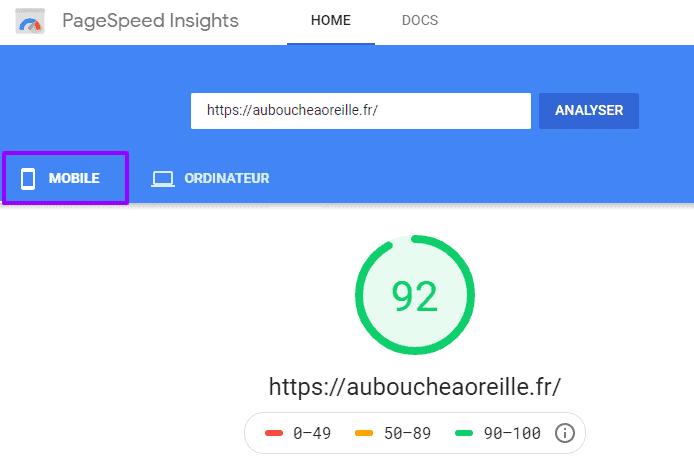 Résultat PagespeedInsight site mobile first