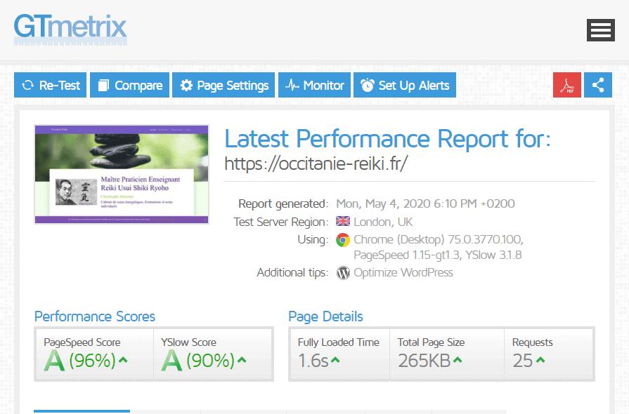 Résultat gtmetrix site mobile first