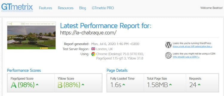 performance de site Gtmetrix